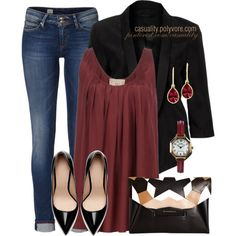 """""""Pleated Blouse & Blazer"""" by casuality on Polyvore"""