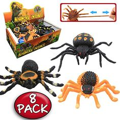 Spider Toy,5 inch Realistic Black Rubber Spiders Toys Set(8 Pack),Food Grade Material TPR Super Stretchy,Zoo World Creepy Halloween Decoration Party Favors Gag Novelty Practical Jokes Black Widow ** Continue to the product at the image link.