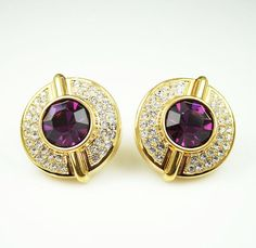 Vintage Lanvin Germany Couture Pave Crystal Purple Rhinestone Earrings by zephyrvintage, $175.00