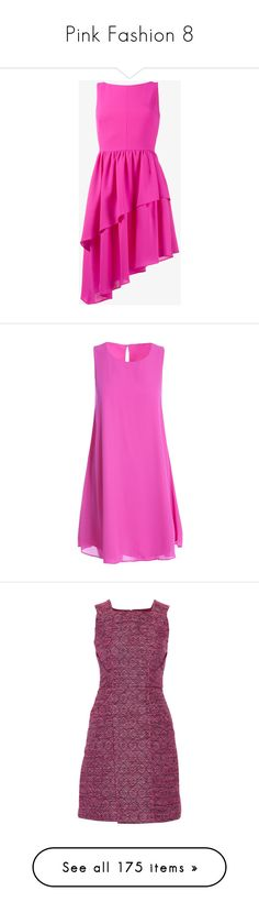 """Pink Fashion 8"" by franceseattle ❤ liked on Polyvore featuring dresses, pink cocktail dress, asymmetrical ruffle dress, wool dress, fuschia dress, fuschia cocktail dress, fushia, key hole dress, pink sleeveless dress and chiffon dresses"