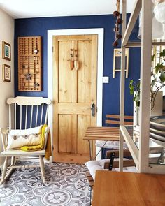 Dulux Blue, Ikea Table And Chairs, Blue Headboard, Stiffkey Blue, Blue Wall Colors, Pine Bedroom, Blue Velvet Sofa, Blue Cushions, Painted Doors