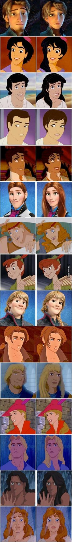 Amazing Disney Gender-Bending Transformations! - I know I've pinned something like this before, but some are new!