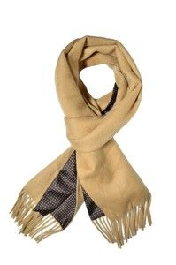 The Knottery - Double sided Printed Silk/Cashmere Blend scarf - Camel.  Alternative to Drake's Reversible silk-cashmere scarf, but 1/5 the price