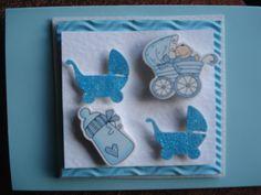 baby boy card..buggy/bottle