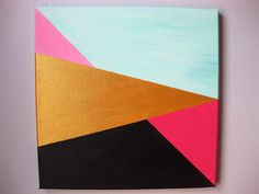12x12 Geometric Painting on Canvas. Original & Abstract Acrylic Art. on Etsy, $65.00
