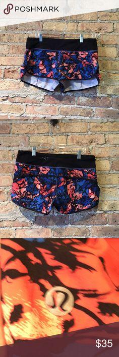 Lululemon blue & orange pattern shorts sz 8 56494 Blue and orange pattern shorts size 8 great used condition lululemon athletica Shorts