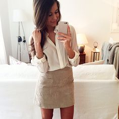 Silk shirt from Zara and suede skirt from Mango