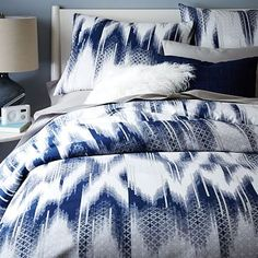 $99 - 109 (Queen - King) West Elm Organic Fading Ikat Tile Duvet Cover + Shams #westelm