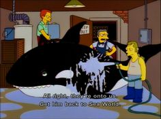 The Simpsons/great episode lol (hysterical  whale noise)