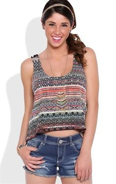 Deb Shops Tribal Swing Tank Top with Braided Strap Back $14.25