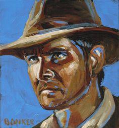 Indiana Jones portrait by BuffaloBonker on Etsy, $50.00