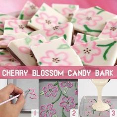 Use three colors of melted Candy Melts and a cut decorating bag to pipe free-form floral designs, then give texture to the design using brush embroidery to create customized candy bark! ***maybe with snowmen or christmas trees or lights :) Cupcakes, Cake Cookies, Cupcake Cakes, Candy Recipes, Sweet Recipes, Custom Candy, Customized Candy, 16 Bars, Candy Bark