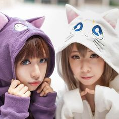 Japanese Luna and Artemis Sailor Moon  Warm Winter Hooded Sweater