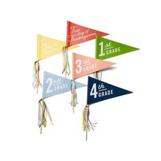 """Colorful school pennants brightly announce his or her first day in a big way. Get your front-door ready! Instagram, watch out! Includes ALL 6 banners (1 of each): Preschool, Kindergarten, 1st Grade, 2nd Grade, 3rd Grade, 4th Grade. 8"""" x 14"""" offset printed banner with dowel rod and ribbons. Ribbon color may vary."""