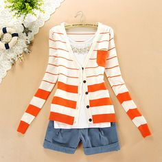 $11.99 Special Pocket Navy Striped Cardigan Sweater at Online Apparel Store Gofavor