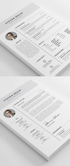 Buy Resume by themedevisers on GraphicRiver. Professional Resume Template / CV Template with super clean and modern look. Elegant Resume page designs are easy to. Resume Design Template, Best Resume Template, Free Cv Template, Design Resume, Cover Letter Design, Cover Letter For Resume, Cv Design, Graphic Design, Modern Design