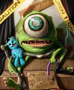 """Will Strike Fear 4 Beer!"" Californian concept artist Dan LuVisi has released a new twisted pop culture illustration portraying Mike Wazowski, an animated Cartoon Cartoon, Evil Cartoon Characters, Cartoon Kunst, Pixar Characters, Arte Horror, Horror Art, Dark Disney, Disney Fan Art, Cultura Pop"