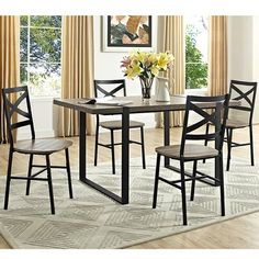 8672733e403d Found it at Wayfair - Madeline Angle Iron and Wood Dining Table ...