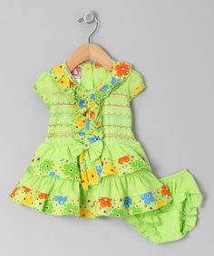 Take a look at this Green Ruffle Smocked Dress & Bloomers - Infant on zulily today!