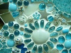 Turquoise flower garden mosaic
