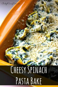 Perfect weekday meal for the family - done in about 30 minutes and everyone in your family will love. Cheesy Spinach Pasta Bake Recipe #bake #recipe #cheese #budgetsavvydiva via budgetsavvydiva.com
