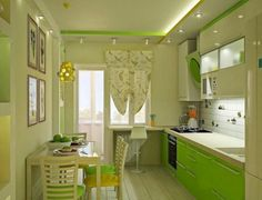 Simple kitchen and dining room design together - Limited space in the house does not become a significant obstacle in designing . Green Kitchen Designs, Modern Kitchen Design, Modern Design, Building A Kitchen, Homemade Furniture, Narrow Kitchen, Kitchen Models, Cuisines Design, Minimalist Kitchen