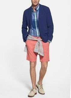 Keeping it smart and casual with a sportcoat, sport shirt and twill shorts.