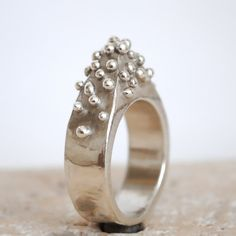 Handmade mountain ring, sterling silver statement ring, pyramid ring, granulation, bubbles