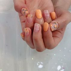 the stunning summer nail art designs for short nails 122 ~ thereds.me - All For Hair Color Trending Nail Art Designs, Acrylic Nail Designs, Gel Manicure Designs, Orange Nail Designs, Short Nail Designs, Manicure Ideas, Minimalist Nails, Gorgeous Nails, Perfect Nails