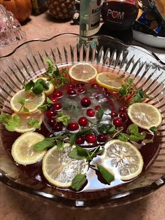 Pomegranate champagne punch for Thanksgiving