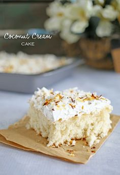 Coconut Cream Cake Recipe!  Such an easy and yummy dessert recipe!