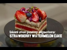 How to make WATERMELON CAKE with Rose cream (Black Star Pastry) - YouTube