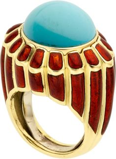Turquoise, Enamel, and Gold Ring by David Webb