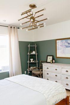 "Sherwin Williams ""Retreat"" via An Arizona Home for Family and Retreat via Design*Sponge Light Green Bedrooms, Green Bedroom Walls, Sage Green Bedroom, Green Accent Walls, Bedroom Wall Colors, Accent Wall Bedroom, Light Green Walls, Green Rooms, Bedroom Decor"
