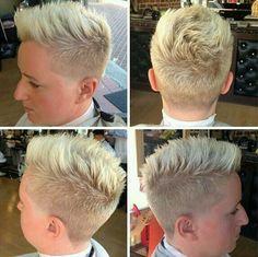 Blonde and short - short cuts ! Short Shaved Hairstyles, Undercut Hairstyles Women, Short Hair Undercut, Short Hairstyles For Women, Cool Hairstyles, Short Hair Dont Care, Short Sassy Hair, Super Short Hair, Short Hair Cuts