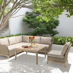 Buy KETTLER Cora 5 Seater Garden Table and Chairs Lounging Corner Set, FSC-Certified (Acacia Wood), Smoke White from our Garden Furniture Sets range at John Lewis & Partners. Garden Table And Chairs, Garden Sofa, Garden Furniture Sets, Outdoor Furniture Sets, Outdoor Decor, Stylish Chairs, Acacia Wood, Corner, October Sun