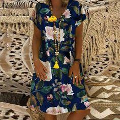 ZANZEA Women Summer Short Sleeve Cotton Linen Dress Vestido Robe Kaftan Femme Vintage V neck Floral Printed Party Sundress Dresses Short, Casual Dresses, Prom Dresses, Style Ethnique, Robes Midi, Vacation Dresses, Hot Dress, Summer Dresses For Women, Mode Style