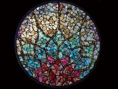 Stained Glass Mosaic Mandala Awakening Dawn by David Chidgey