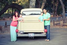 Maternity Family Photo idea with old pick up truck