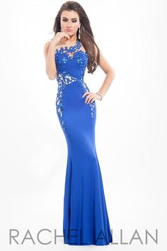 2015 Royal Blue Prom Dresses Sheer Neckline Mermaid Long Celebrity Party Gowns Appliques Lace Sexy RACHELALLAN Dress For Girls Evening