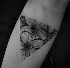 Black work tattoo hibiscu s