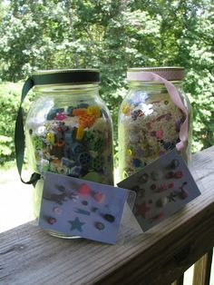 Made a couple of these eye-spy games. Both my 2.5 year old and 6 month old loved this!! Modified by using plastic bottles, small treasures from around the house, and sequence then filling up with water. Fun!