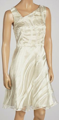 Ivory & Silver Fit & Flare Dress Could be a cute simple wedding dress