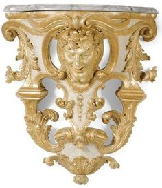 A pair of South German carved giltwood and cream painted wall brackets attributed to Johann Adam Pichler, after a design by Joseph Effner, Munich<br>circa 1720 Decor, Wall, Wall Brackets, Art Decor, Wall Hanger, Wall Decor, Furniture, Interior, Wall Painting