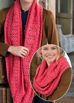 Free Knitting Pattern for Easy Covet This Lacy Cowl - Easy lace infinity scarf in worsted weight yarn. Designed by Nancy J. Thomas for Red Heart Beginners Knitting Kit, Easy Knitting Projects, Knitting Kits, Loom Knitting, Baby Knitting Patterns, Free Knitting, Knitting Machine, Knitting Tutorials, Crochet Projects