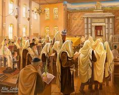 Sukkot in Kfar Chabad Synagogue, painting by Alex Levin