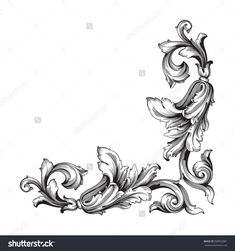 Vintage Baroque Frame Scroll Ornament Engraving Border Floral Retro Pattern Antique Style Acanthus Foliage Swirl Decorative Design Element Filigree Calligraphy Vector | Damask - Stock Vector - 368052881 : Shutterstock