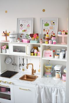 Cute idea for shelves to be same height with little cabinet addition idea. Playroom Design, Playroom Decor, Playhouse Interior, Playhouse Decor, Kids Cubbies, Ikea Play Kitchen, Wendy House, Toy Rooms, Little Girl Rooms