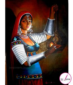 Acrylic Paintings - Rajasthani women keeping a lamp Buddha Painting, Krishna Painting, Krishna Art, Rajasthani Painting, Rajasthani Art, Indian Art Paintings, Modern Art Paintings, Acrylic Painting Flowers, Acrylic Painting Canvas