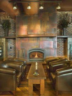 Steampunk inspired living room #metallic #fireplace #gold #brass
